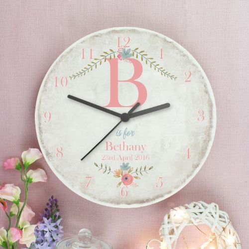 Floral Bouquet Shabby Chic Large Wooden Clock